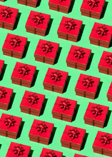 Red Gift Pattern Against Green Background