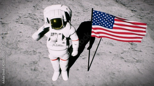 Fotografía  Astronaut on the moon near the us flag salutes. 3D Rendering