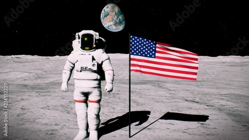 Fotomural  Astronaut on the moon near the us flag salutes. 3D Rendering
