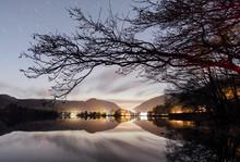 Stars Over Grasmere Lake. Cumbria, UK.