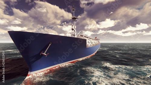 Tankowiec LNG unoszący się w oceanie o wschodzie słońca. Renderowanie 3D