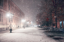 First Snow In Novi Sad City At Night