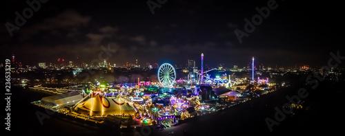 Stampa su Tela Aerial view of Christmas funfair in Hyde park, London