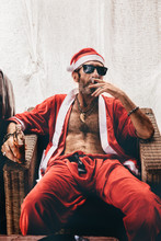 Santa Sitting And Smoking