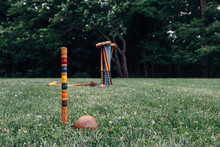 Croquet Game Set On A Lawn