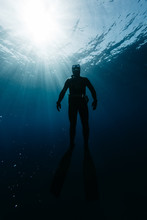 Freediver Hanging In Tranquil Water