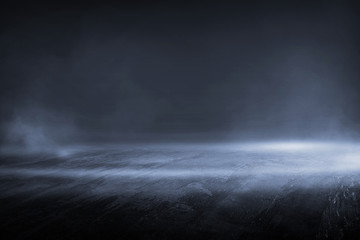 Creative blurry outdoor asphalt background with mist light high speed