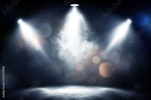 Fotobehang Licht, schaduw spotlight smoke studio entertainment background.