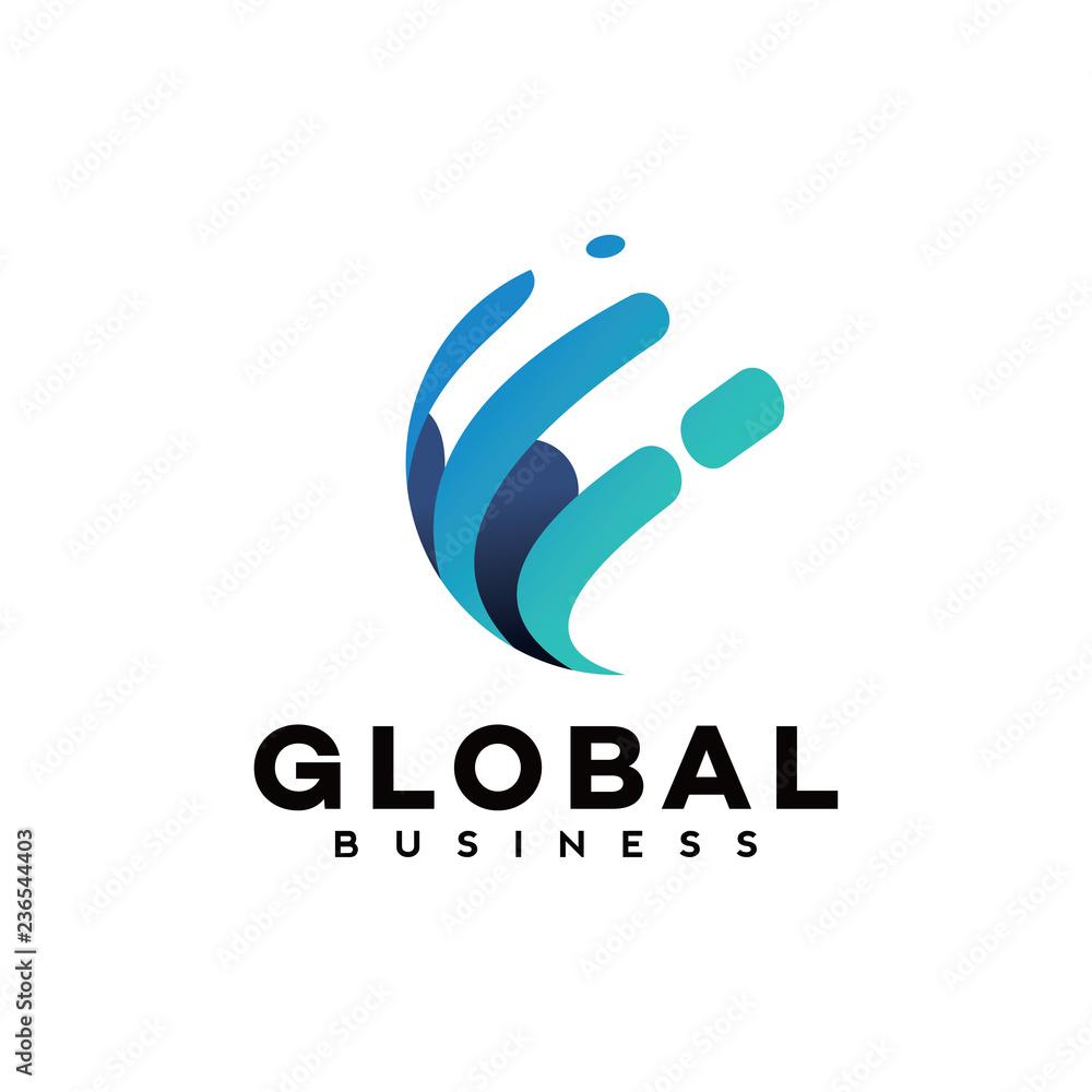 Fototapeta global tech logo