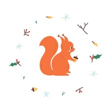 Cute Squirrel. Vector Illustrtion. Minimalistic Design, Children S Picture. Print For Clothes, Dishes Etc