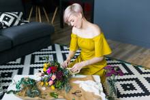 Woman Making Beautiful Bouquet