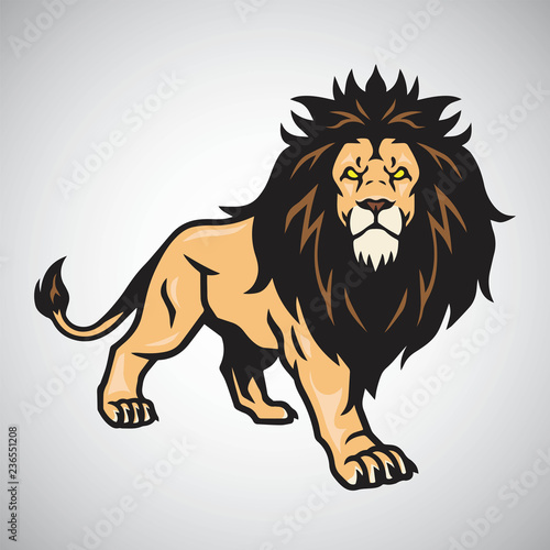 Photo Wild Lion Standing. Vector Illustration
