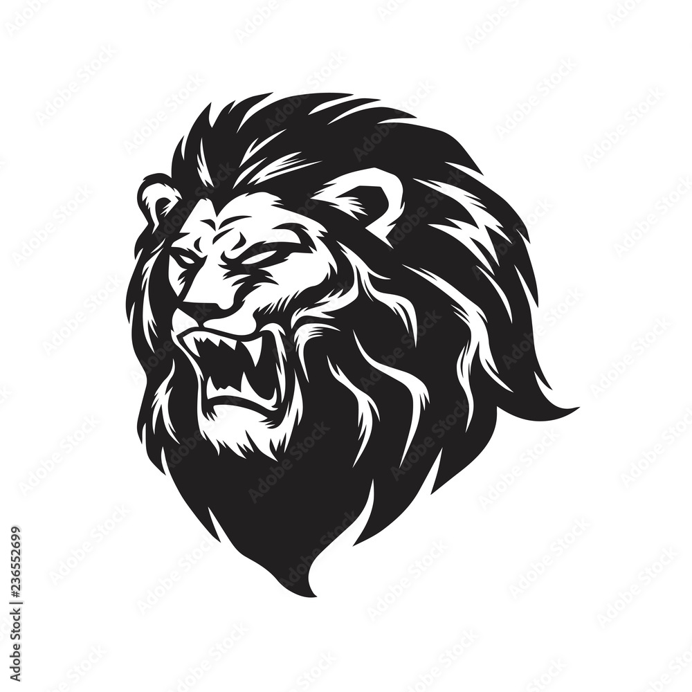 Wild Lion Roaring Logo Mascot Vector Illustration