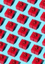 Red Gift Pattern On Blue Backg...