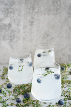 Cloudy Vodka Cocktails With Blueberry And Thyme