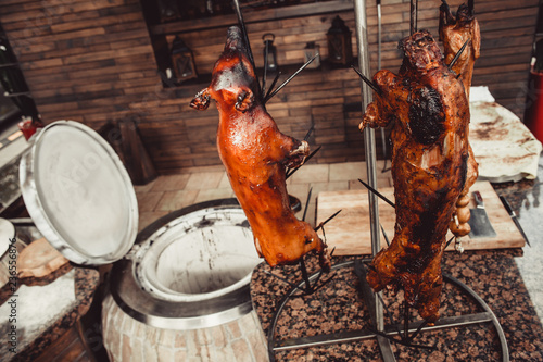 Grilled pig, roasted rabbit, lamb traditional, hot tandoor grill. Hot Meat dishes