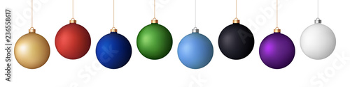Obraz na plátne Vector set of 8 realistic New Year (Christmas) matt balls (decorations), different colors isolated on white