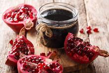 Azerbaijani Narsharab Seasoning Obtained By Thickening Pomegranate Juice Close-up. Horizontal