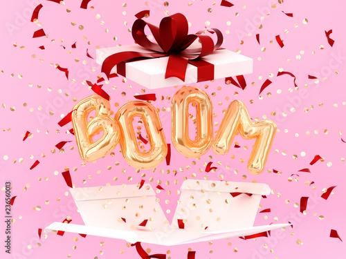 Fotografie, Obraz  Boom word letters golden burst confetti and gift box, foil balloon text