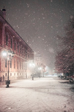 First Snow In Novi Sad City At Night