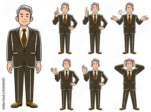 年配のビジネスマンのポーズ_7種類のセット1 Fototapet