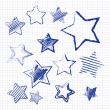 Hand Drawn Christmas Star On Notebook Page. Vector Illustration.
