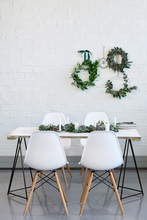 SImple Dinner Setting For Christmas With Copy Space