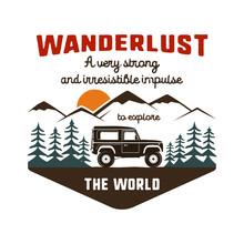Wanderlust Logo Emblem. Vintag...