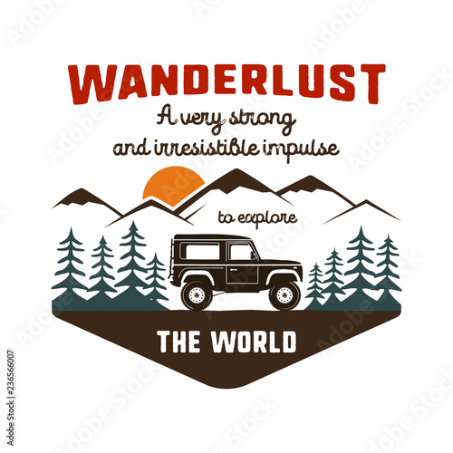 Wanderlust Logo Emblem Vintage Hand Drawn Travel Badge Featuring