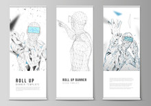 The Vector Illustration Of The Editable Layout Of Roll Up Banner Stands, Vertical Flyers, Flags Design Business Templates. Man With Glasses Of Virtual Reality. Abstract Vr, Future Technology Concept.