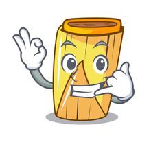 Call Me Tamale With Corn Leaf In Cartoon