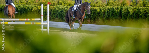 La pose en embrasure Equitation Beautiful girl on sorrel horse in jumping show, equestrian sports. Light-brown horse and girl in uniform going to jump. Horizontal web header or banner design. Copy space for your text.