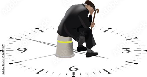 Fotografie, Obraz persona anziana seduta aspetta che il tempo passa