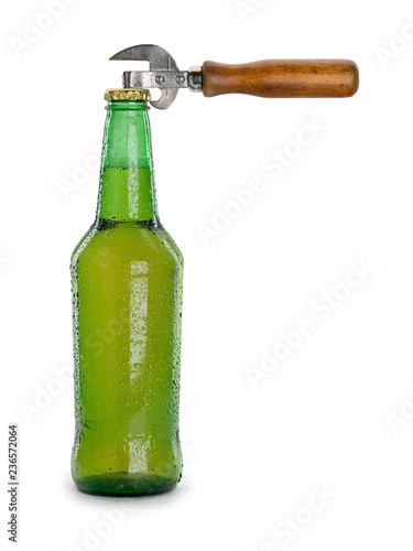 Tuinposter Bier / Cider Beer in a bottle and can opener