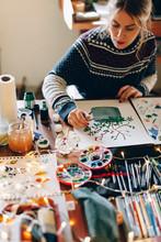 Preparing And Drawing Christmas Decoration