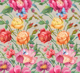 Fototapeta Peonies and roses seamless background pattern. Version 5