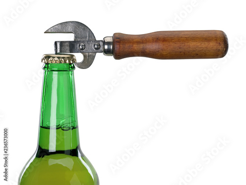 Tuinposter Bier / Cider Neck of glass bottle with beer and can opener