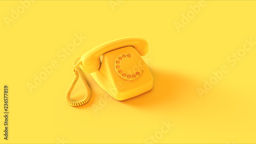 canvas print motiv - paul : Yellow Telephone 3d illustration 3d render