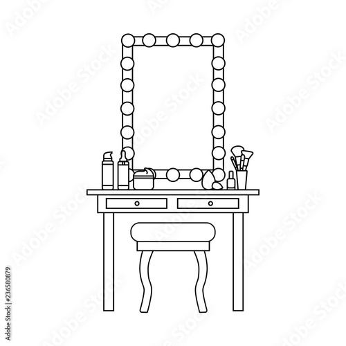 Fotografia Vector flat illustration of artist mirror and dressing table, chair