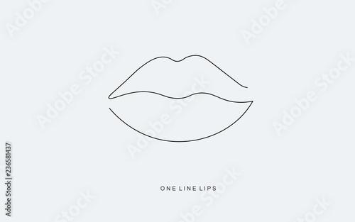 Valokuvatapetti Lipstick kiss. Continuous line drawing. Vector illustration