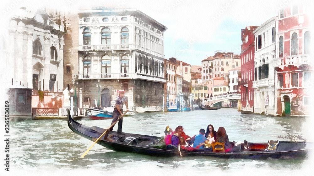 Gondola w kanale w Wenecja, Włochy. Akwarela krajobraz Wenecja, Włochy.