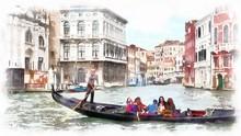 Gondola In A Canal In Venice, ...