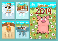 Calendar For 2019 With Cartoon...