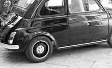 Italy: Details Of Old Small Car.
