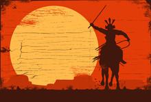 Silhouette Of Japanese Samurai Warrior Riding Horse, Vector