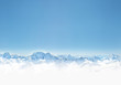 Leinwanddruck Bild Panorama of winter mountains with snow. copy space background for your design