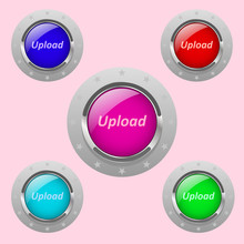 A Set Of Round Buttons, Metal-framed, Different Colors.