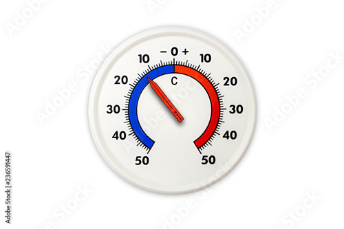 Thermometer Isolated On White Background Air Temperature Minus 13 Degrees Celsius