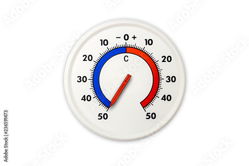 Thermometer Isolated On White Background Air Temperature Minus 50 Degrees Celsius