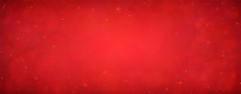 Red Christmas Glitter Background With Stars. Festive Glowing Blurred Texture.